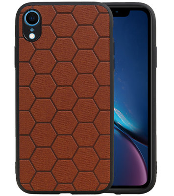 Hexagon Hard Case voor iPhone XR Bruin