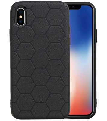 Hexagon Hard Case voor iPhone X / iPhone XS Zwart