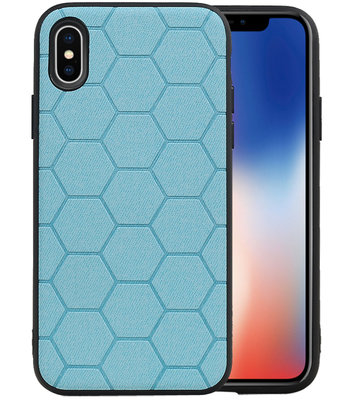 Hexagon Hard Case voor iPhone X / iPhone XS Blauw