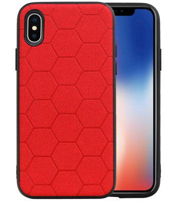 Hexagon Hard Case voor iPhone X / iPhone XS Rood