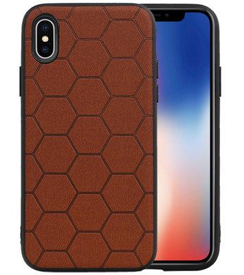 Hexagon Hard Case voor iPhone X / iPhone XS Bruin