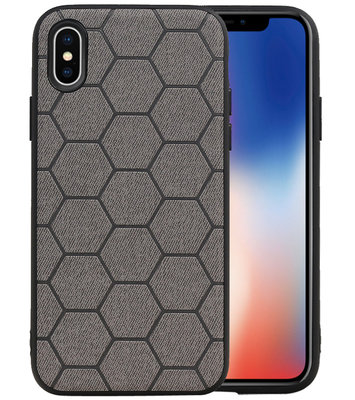Hexagon Hard Case voor iPhone X / iPhone XS Grijs