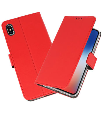 Wallet Cases Hoesje voor iPhone XS - X Rood