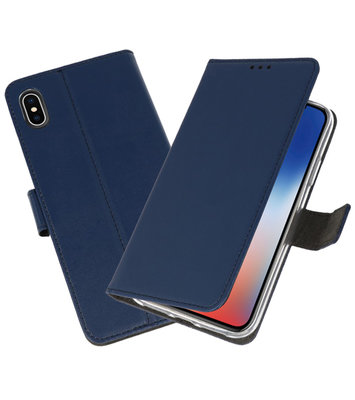 Wallet Cases Hoesje voor iPhone XS - X Navy