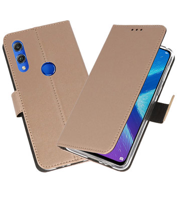 Wallet Cases Hoesje voor Huawei Honor 8X Goud