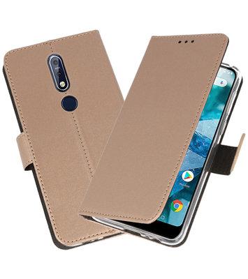 Wallet Cases Hoesje voor Nokia 7.1 Goud