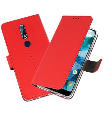 Wallet Cases Hoesje voor Nokia 7.1 Rood