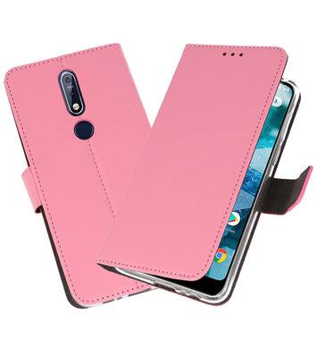 Wallet Cases Hoesje voor Nokia 7.1 Roze