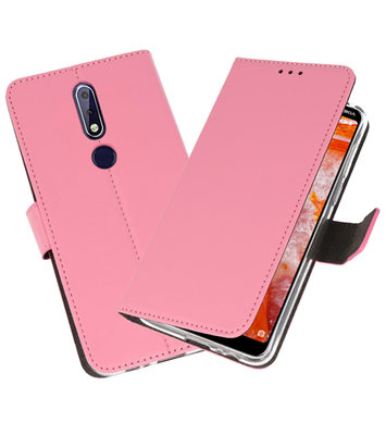 Wallet Cases Hoesje voor Nokia 3.1 Plus Roze