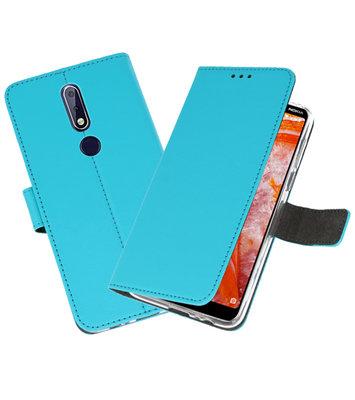 Wallet Cases Hoesje voor Nokia 3.1 Plus Blauw