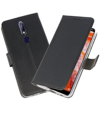 Wallet Cases Hoesje voor Nokia 3.1 Plus Zwart