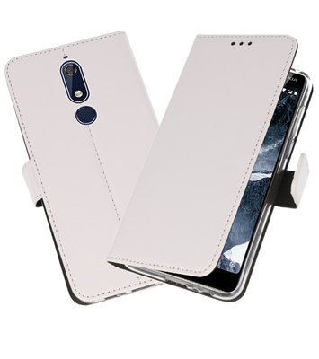 Wallet Cases Hoesje voor Nokia 5.1 Wit