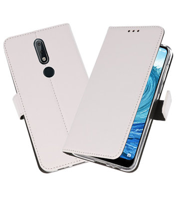 Wallet Cases Hoesje voor Nokia X5 5.1 Plus Wit