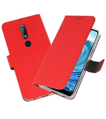 Wallet Cases Hoesje voor Nokia X5 5.1 Plus Rood