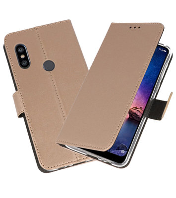 Wallet Cases Hoesje voor XiaoMi Redmi Note 6 Pro Goud