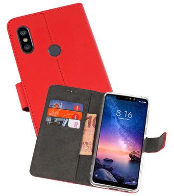 Wallet Cases Hoesje voor XiaoMi Redmi Note 6 Pro Rood