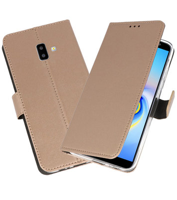Wallet Cases Hoesje voor Galaxy J6 Plus Goud