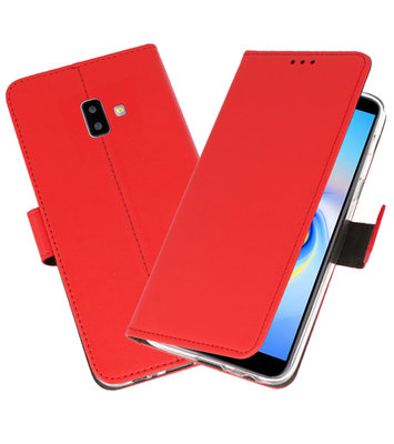 Wallet Cases Hoesje voor Galaxy J6 Plus Rood
