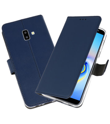 Wallet Cases Hoesje voor Galaxy J6 Plus Navy