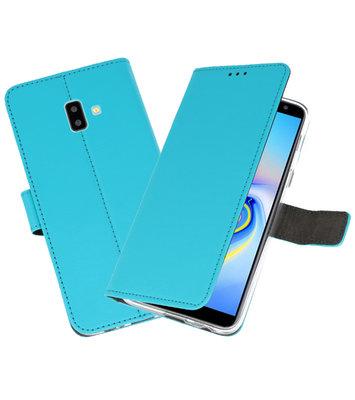Wallet Cases Hoesje voor Galaxy J6 Plus Blauw