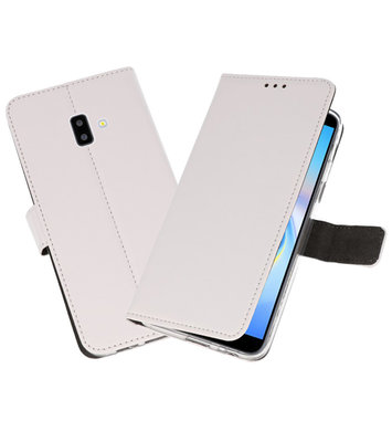 Wallet Cases Hoesje voor Galaxy J6 Plus Wit