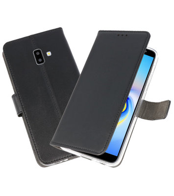 Wallet Cases Hoesje voor Galaxy J6 Plus Zwart