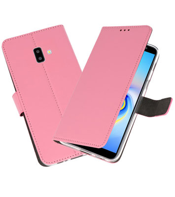 Wallet Cases Hoesje voor Galaxy J6 Plus Roze