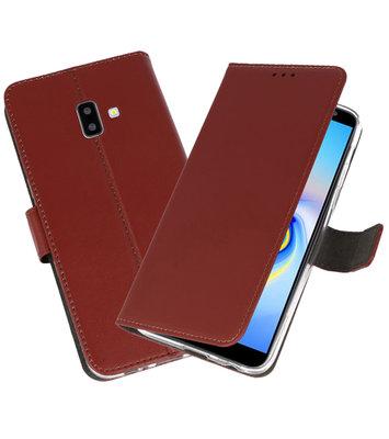 Wallet Cases Hoesje voor Galaxy J6 Plus Bruin