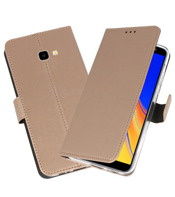 Wallet Cases Hoesje voor Galaxy J4 Plus Goud