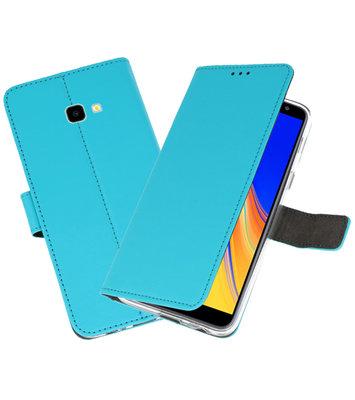 Wallet Cases Hoesje voor Galaxy J4 Plus Blauw