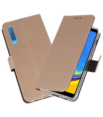 Wallet Cases Hoesje voor Galaxy A7 (2018) Goud