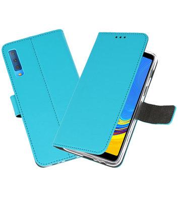 Wallet Cases Hoesje voor Galaxy A7 (2018) Blauw