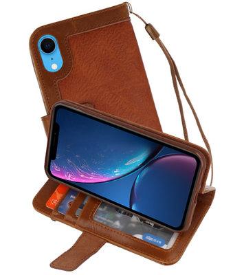 Luxe Portemonnee Telefoonhoesje voor iPhone XR Bruin
