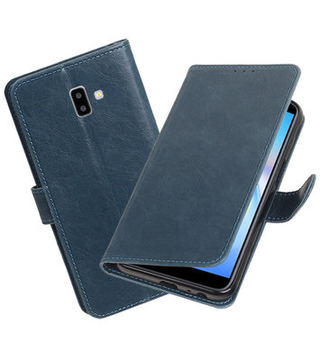 Hoesje voor Samsung Galaxy J6 Plus Pull-Up Booktype Blauw