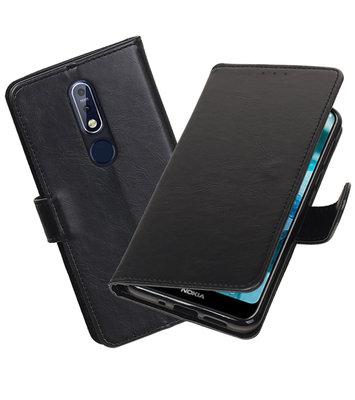 Hoesje voor Nokia 7.1 Pull-Up Booktype Zwart