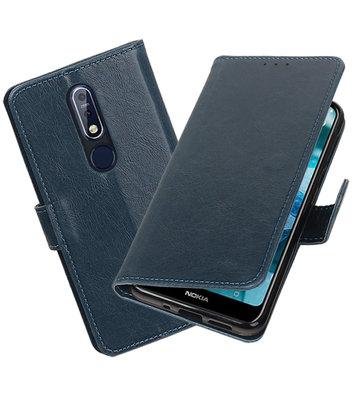 Hoesje voor Nokia 7.1 Pull-Up Booktype Blauw