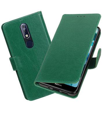 Hoesje voor Nokia 7.1 Pull-Up Booktype Groen