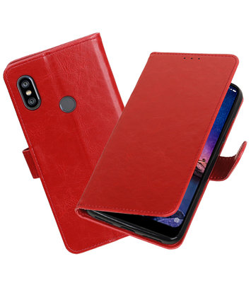 Hoesje voor XiaoMi Redmi Note 6 Pro Pull-Up Booktype Rood