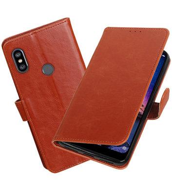 Hoesje voor XiaoMi Redmi Note 6 Pro Pull-Up Booktype Bruin