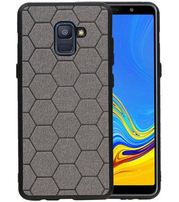 Hexagon Hard Case voor Samsung Galaxy A8 Plus 2018 Grijs