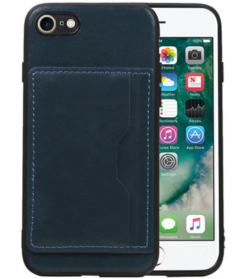 Staand Back Cover 1 Pasjes voor iPhone 8 / 7 Navy