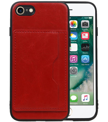 Staand Back Cover 1 Pasjes voor iPhone 8 / 7 Rood