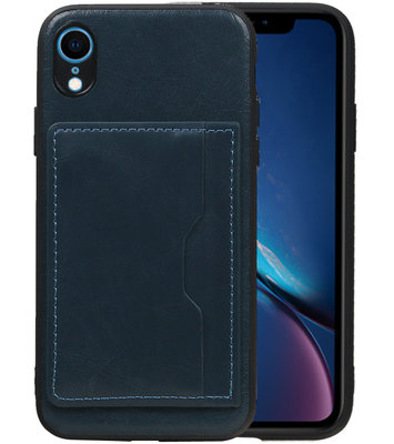 Staand Back Cover 1 Pasjes voor iPhone XR Navy