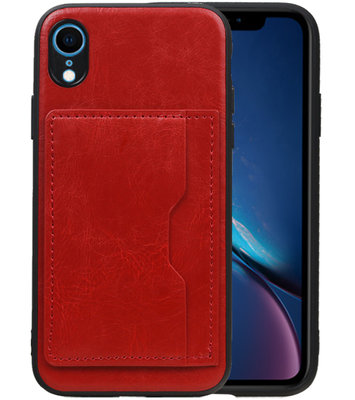 Staand Back Cover 1 Pasjes voor iPhone XR Rood