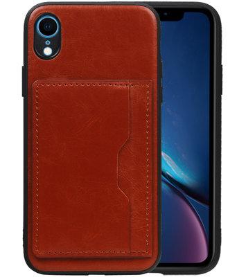 Staand Back Cover 1 Pasjes voor iPhone XR Bruin