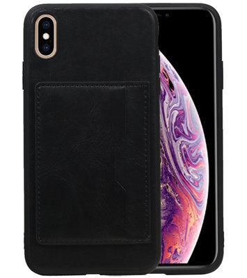 Staand Back Cover 1 Pasjes voor iPhone XS Max Zwart