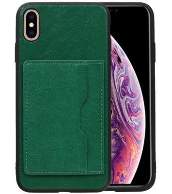 Staand Back Cover 1 Pasjes voor iPhone XS Max Groen