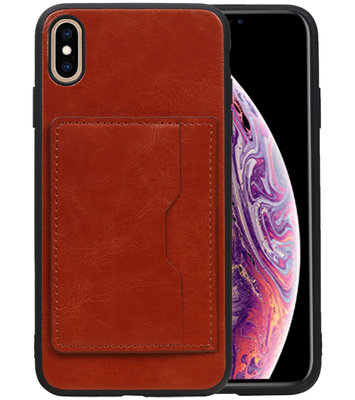 Staand Back Cover 1 Pasjes voor iPhone XS Max Bruin