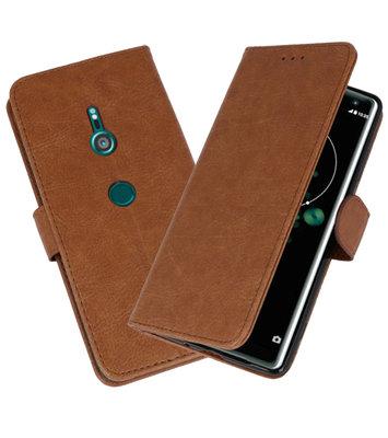 Wallet Cases Hoesje voor Xperia XZ3 Bruin