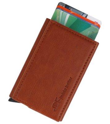 Uitschuifbare kaarthouder portemonnee Bruin